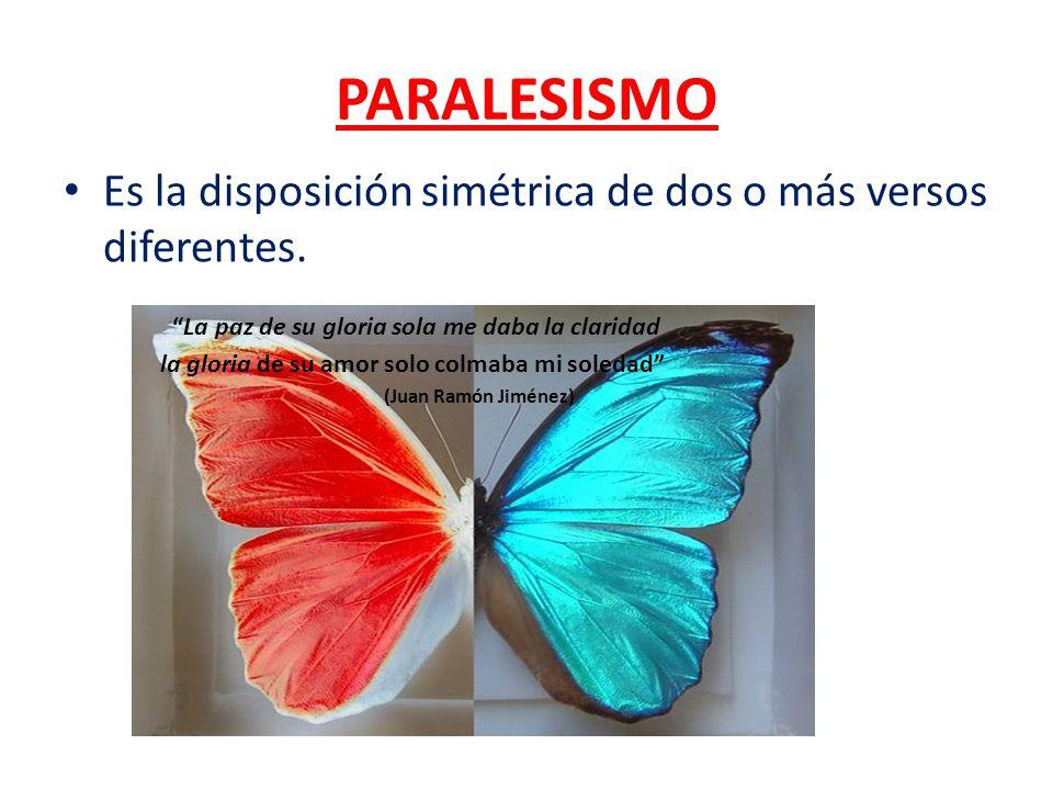 PARALESISMO Es la disposición simétrica de dos o más versos diferentes. La paz de su gloria sola me daba la claridad.