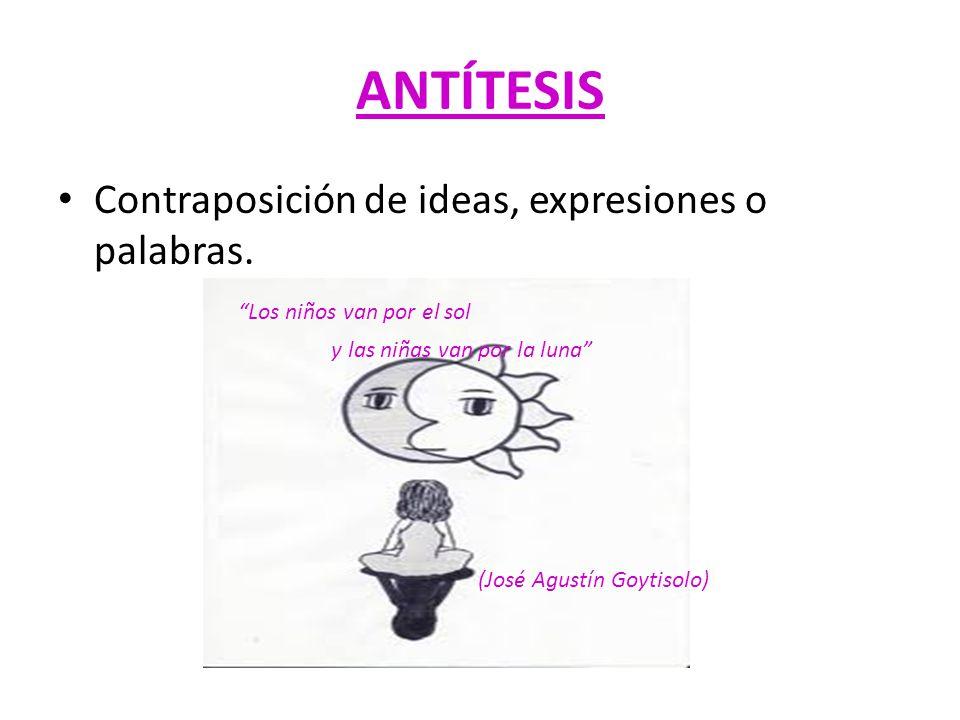 ANTÍTESIS Contraposición de ideas, expresiones o palabras.