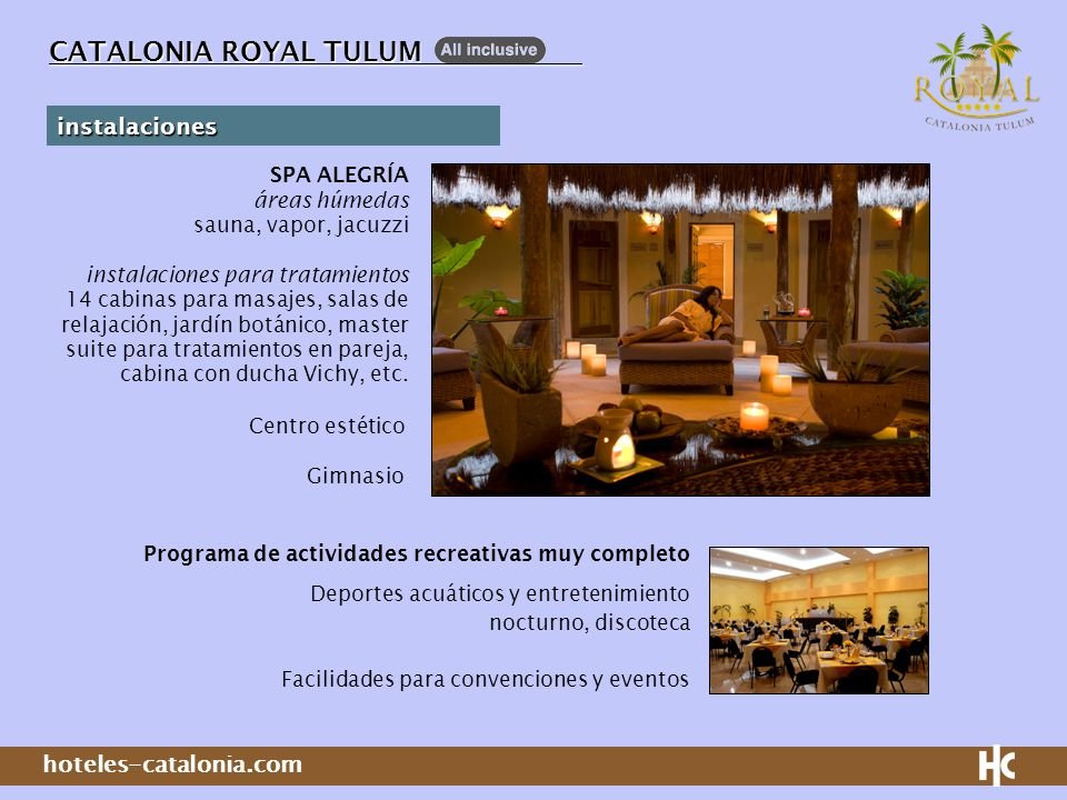 CATALONIA ROYAL TULUM instalaciones SPA ALEGRÍA