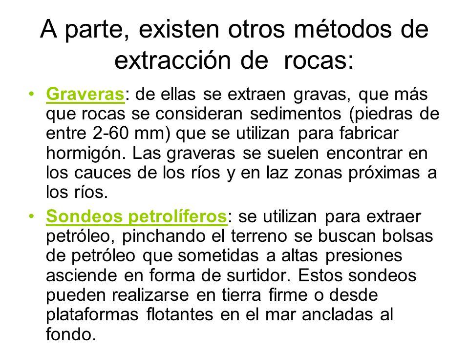 A parte, existen otros métodos de extracción de rocas: