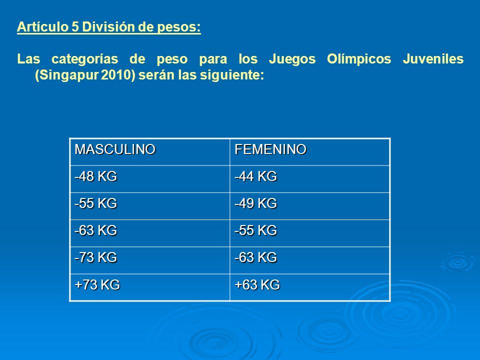 Artículo 5 División de pesos:
