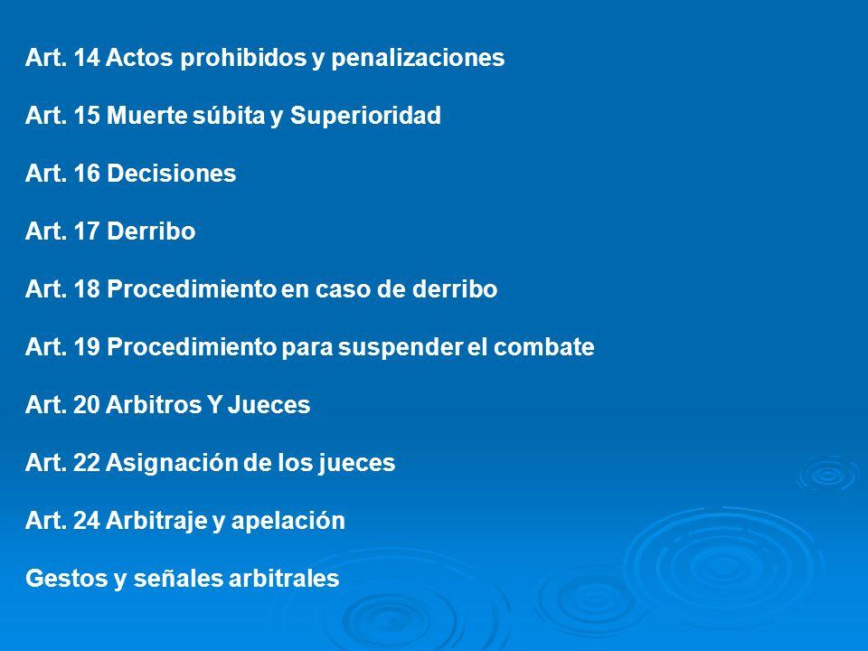 Art. 14 Actos prohibidos y penalizaciones