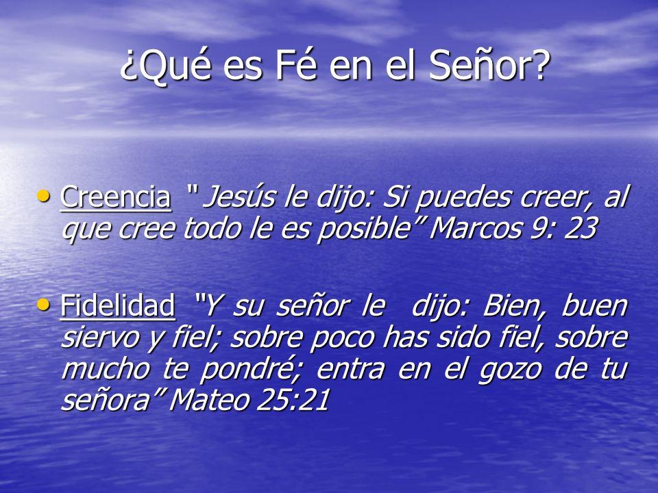 ¿Qué es Fé en el Señor Creencia Jesús le dijo: Si puedes creer, al que cree todo le es posible Marcos 9: 23.
