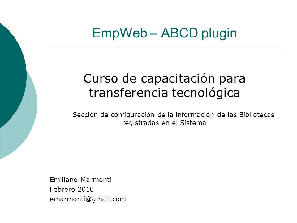 Curso de capacitación para transferencia tecnológica