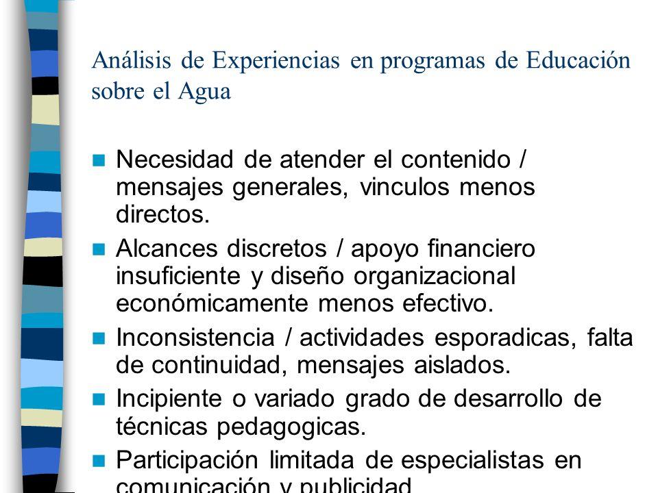 Análisis de Experiencias en programas de Educación sobre el Agua