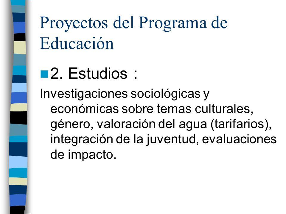 Proyectos del Programa de Educación