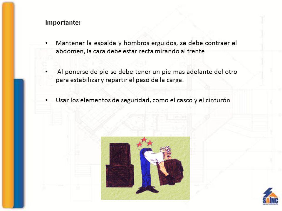 Importante: Mantener la espalda y hombros erguidos, se debe contraer el abdomen, la cara debe estar recta mirando al frente.