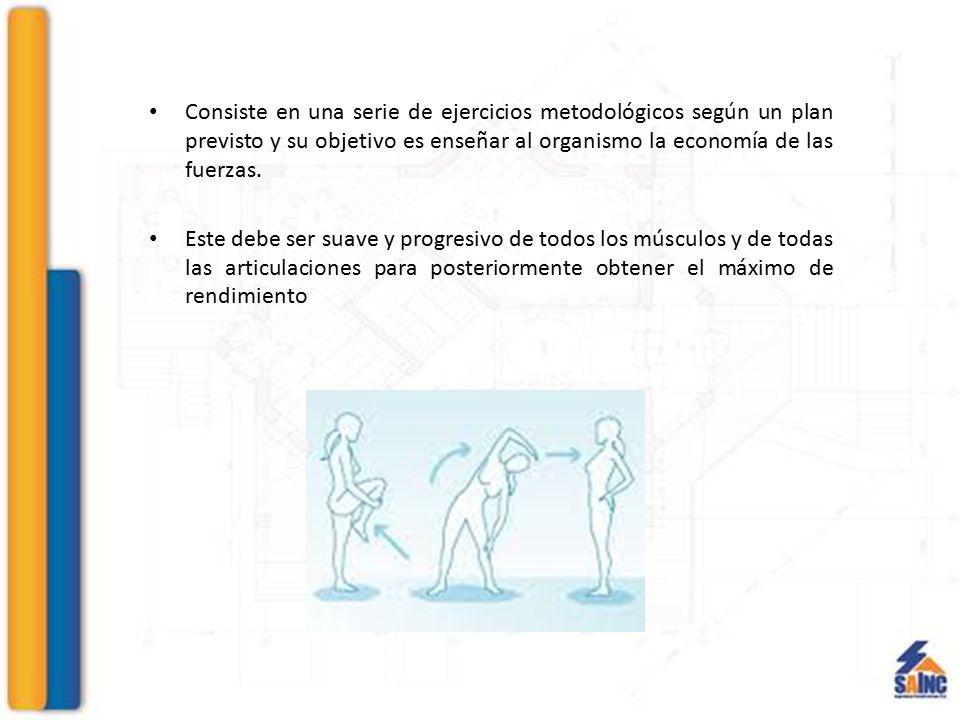 Consiste en una serie de ejercicios metodológicos según un plan previsto y su objetivo es enseñar al organismo la economía de las fuerzas.