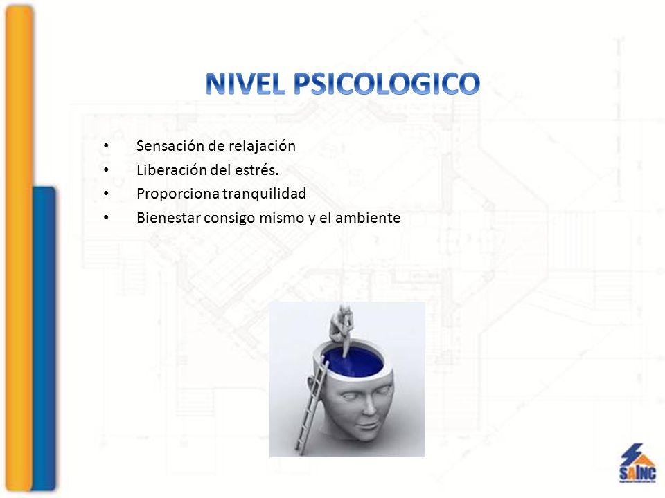 NIVEL PSICOLOGICO Sensación de relajación Liberación del estrés.