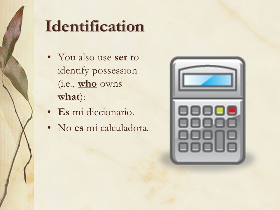 IdentificationYou also use ser to identify possession (i.e., who owns what): Es mi diccionario.