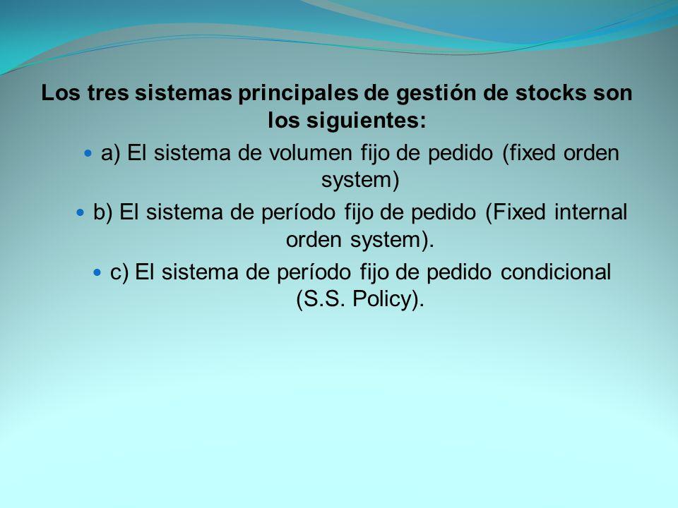 Los tres sistemas principales de gestión de stocks son los siguientes: