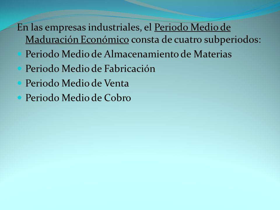 En las empresas industriales, el Periodo Medio de Maduración Económico consta de cuatro subperiodos: