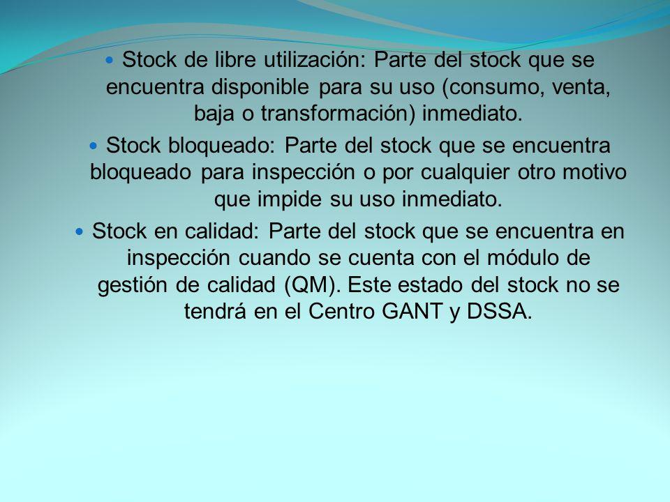 Stock de libre utilización: Parte del stock que se encuentra disponible para su uso (consumo, venta, baja o transformación) inmediato.