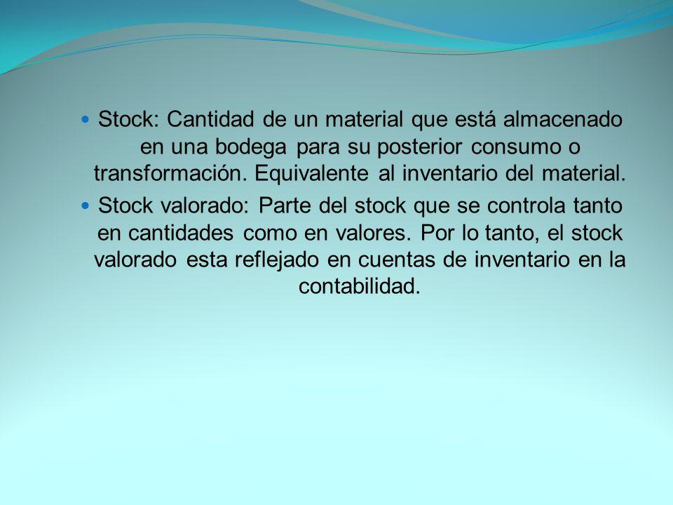 Stock: Cantidad de un material que está almacenado en una bodega para su posterior consumo o transformación. Equivalente al inventario del material.
