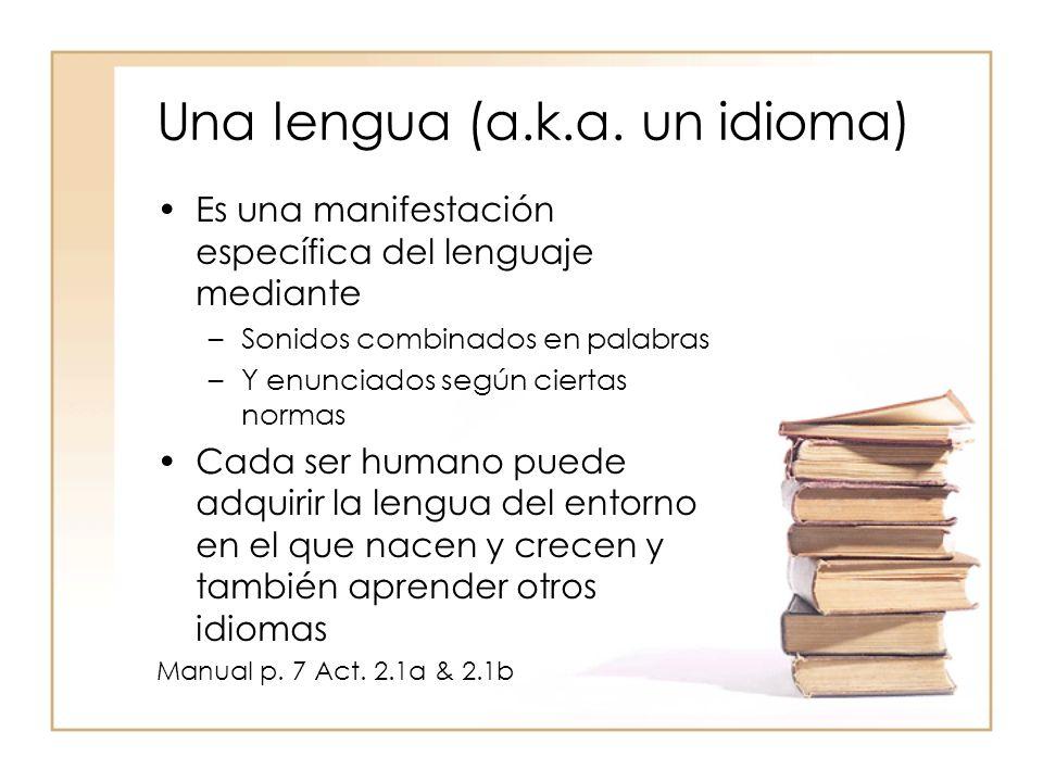 Una lengua (a.k.a. un idioma)