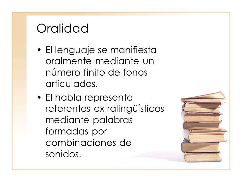 Oralidad El lenguaje se manifiesta oralmente mediante un número finito de fonos articulados.