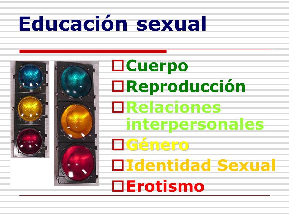 Educación sexual Cuerpo Reproducción Relaciones interpersonales Género