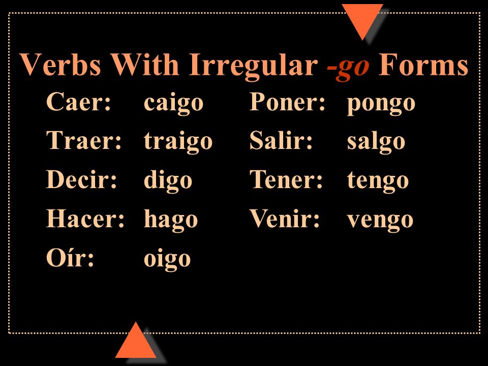 Verbs With Irregular -go Forms
