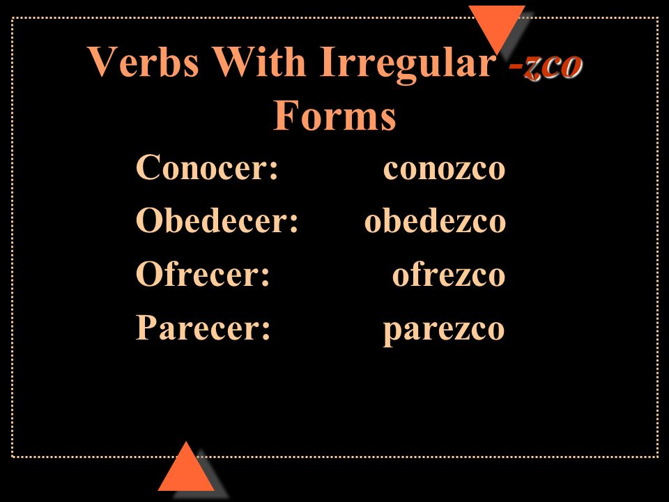 Verbs With Irregular -zco Forms