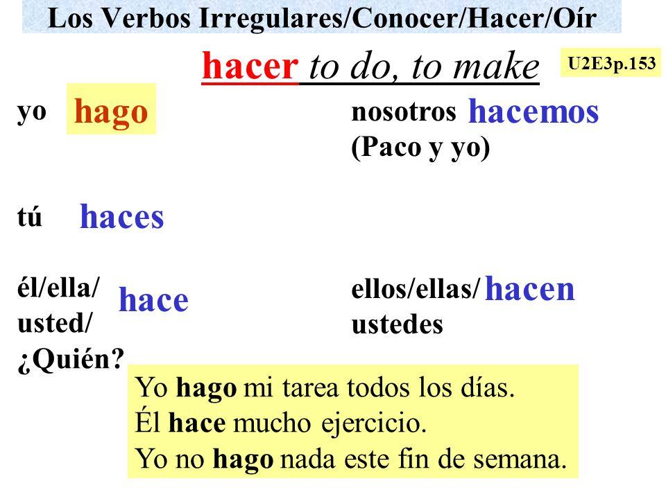 Los Verbos Irregulares/Conocer/Hacer/Oír