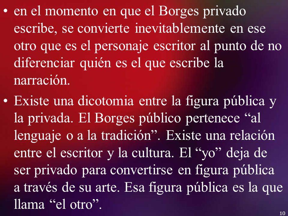 en el momento en que el Borges privado escribe, se convierte inevitablemente en ese otro que es el personaje escritor al punto de no diferenciar quién es el que escribe la narración.
