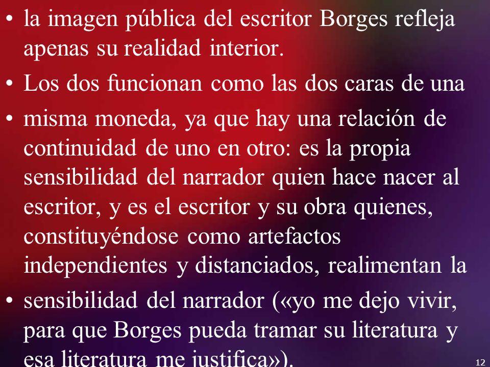 la imagen pública del escritor Borges refleja apenas su realidad interior.