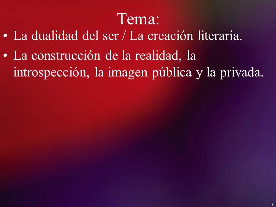 Tema: La dualidad del ser / La creación literaria.