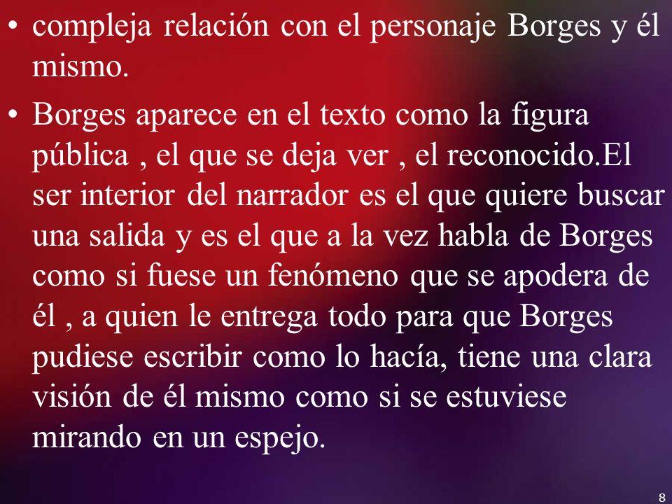 compleja relación con el personaje Borges y él mismo.