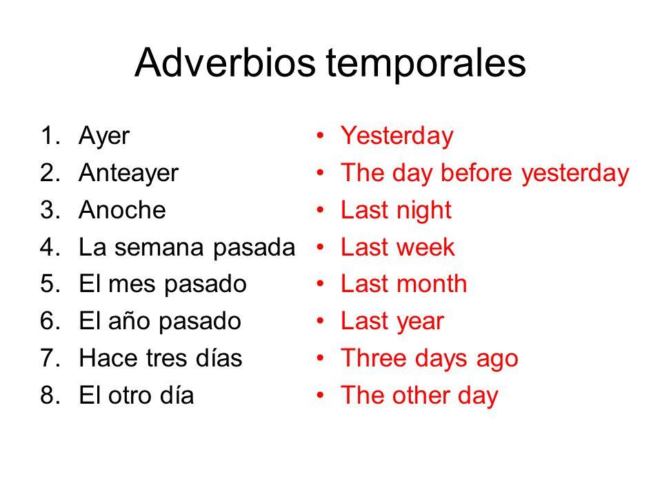 Adverbios temporales Ayer Anteayer Anoche La semana pasada