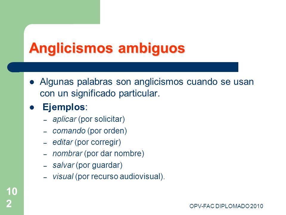 Anglicismos ambiguosAlgunas palabras son anglicismos cuando se usan con un significado particular. Ejemplos: