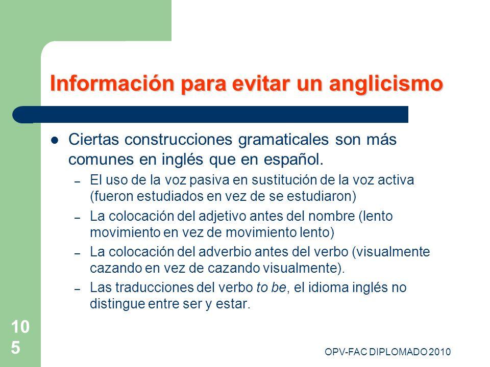 Información para evitar un anglicismo