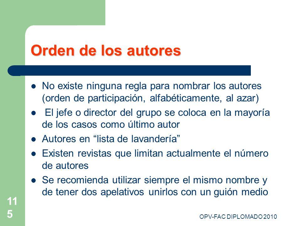 Orden de los autores No existe ninguna regla para nombrar los autores (orden de participación, alfabéticamente, al azar)