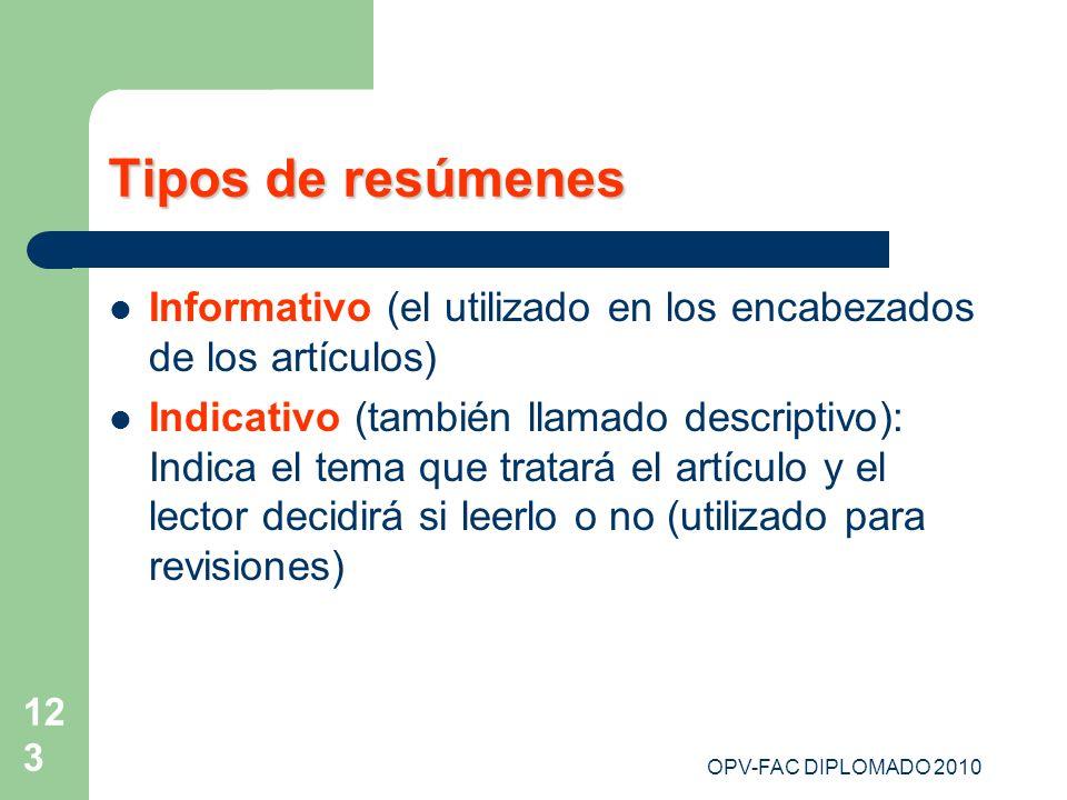 Tipos de resúmenes Informativo (el utilizado en los encabezados de los artículos)