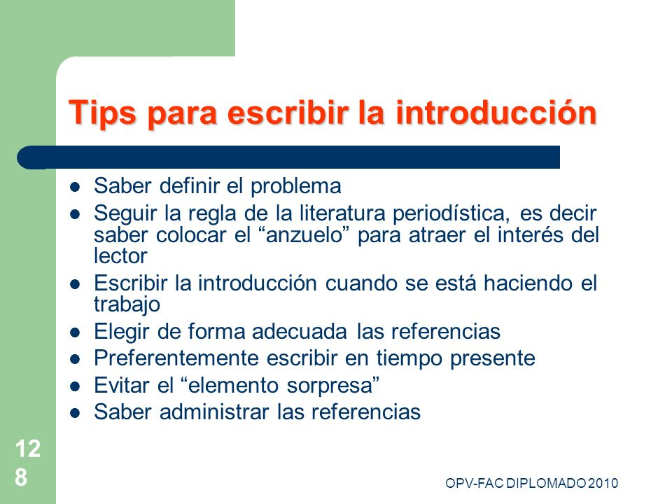 Tips para escribir la introducción