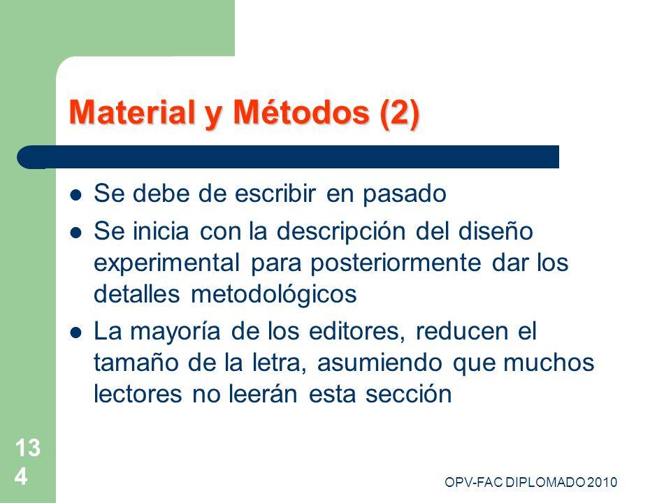 Material y Métodos (2) Se debe de escribir en pasado