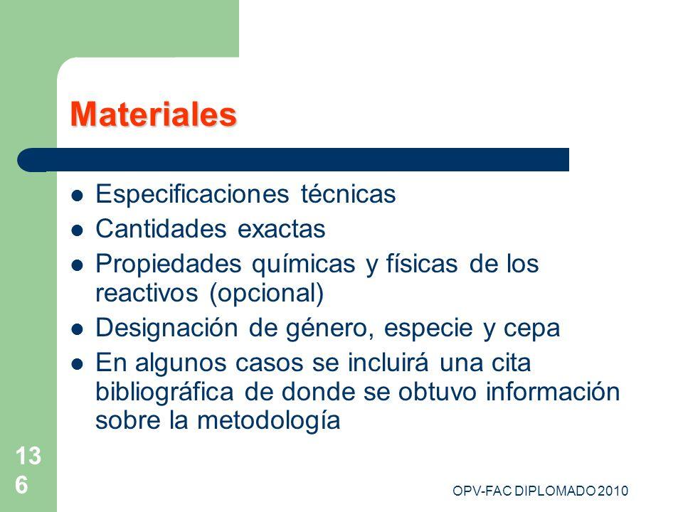 Materiales Especificaciones técnicas Cantidades exactas