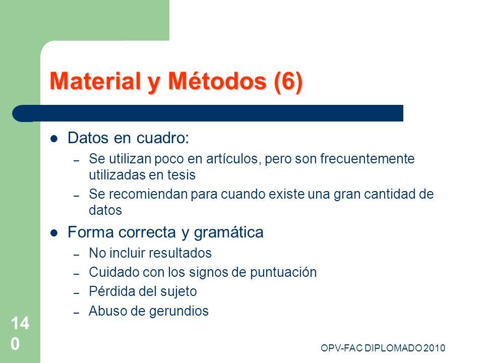 Material y Métodos (6) Datos en cuadro: Forma correcta y gramática