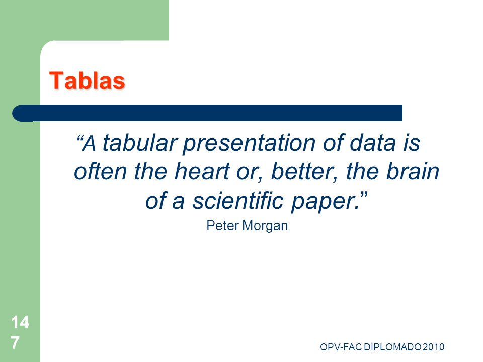 Tablas A tabular presentation of data is often the heart or, better, the brain of a scientific paper.