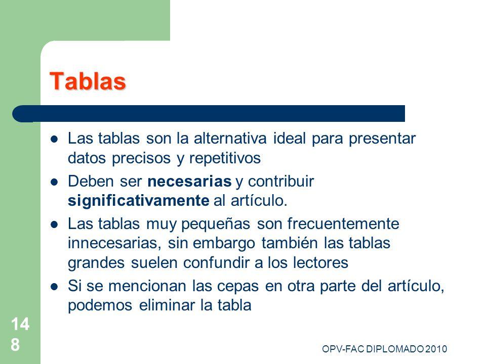 TablasLas tablas son la alternativa ideal para presentar datos precisos y repetitivos.
