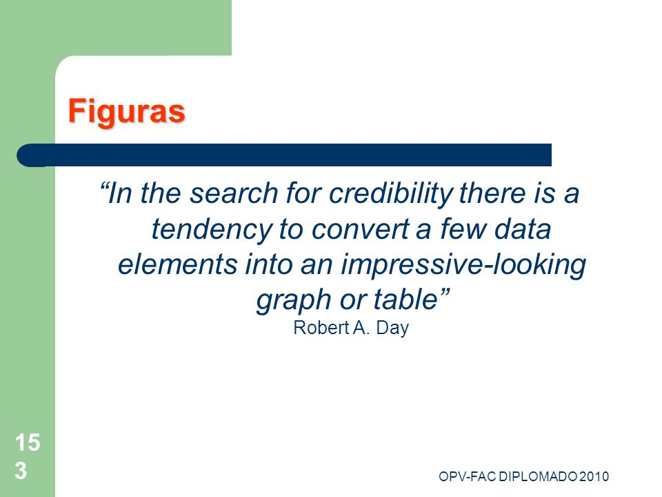 Figuras In the search for credibility there is a tendency to convert a few data elements into an impressive-looking graph or table Robert A. Day.