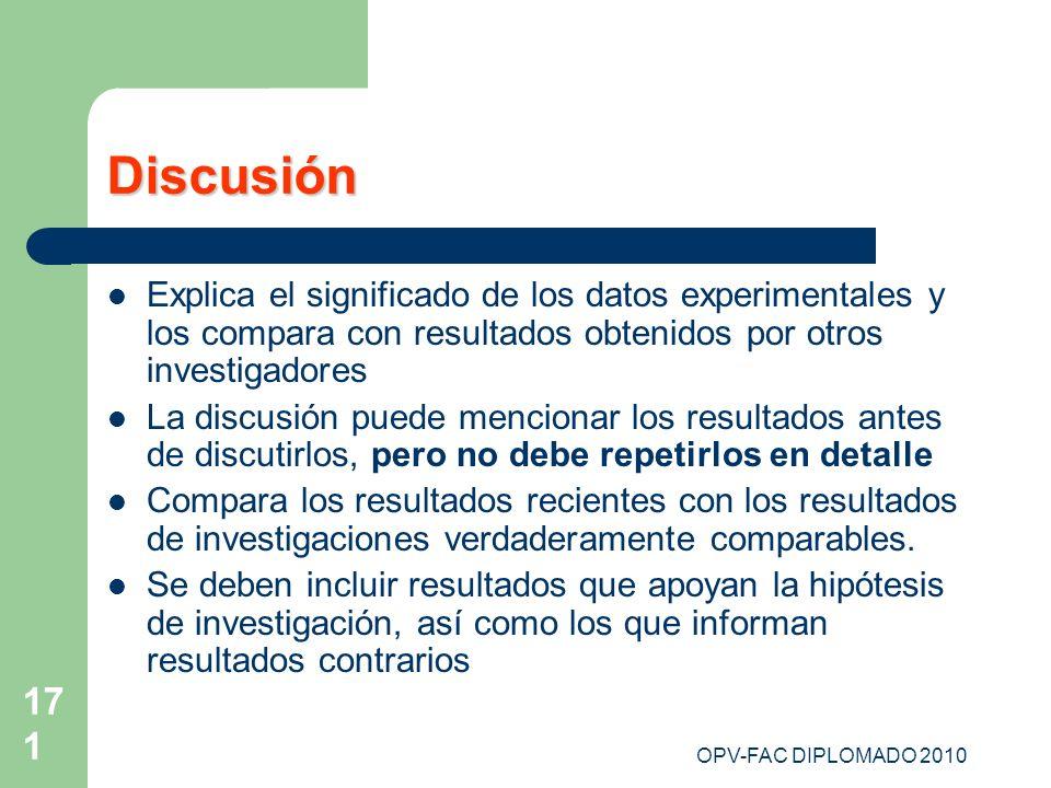 Discusión Explica el significado de los datos experimentales y los compara con resultados obtenidos por otros investigadores.