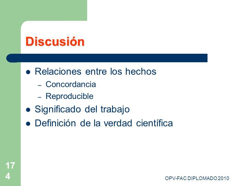 Discusión Relaciones entre los hechos Significado del trabajo