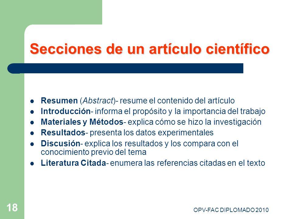Secciones de un artículo científico