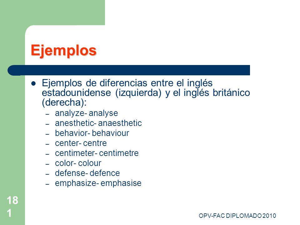 Ejemplos Ejemplos de diferencias entre el inglés estadounidense (izquierda) y el inglés británico (derecha):