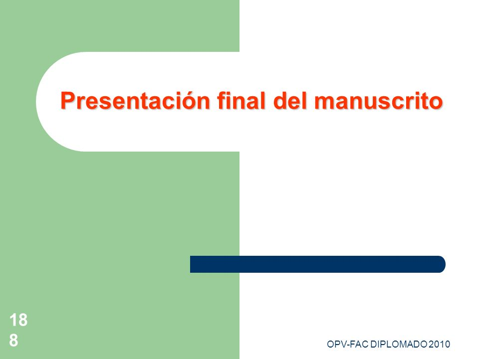 Presentación final del manuscrito