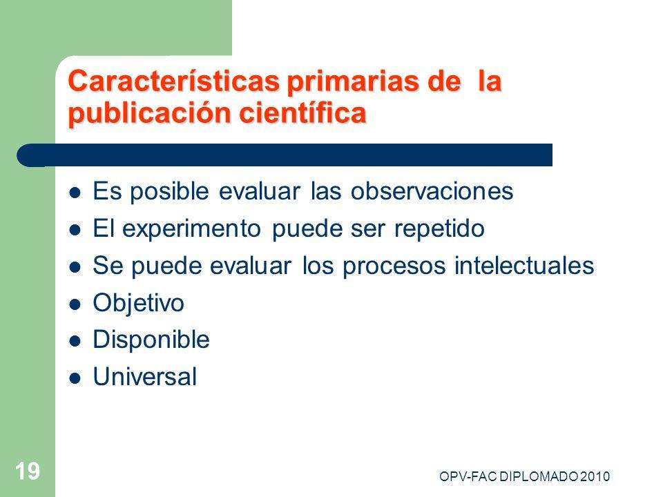 Características primarias de la publicación científica