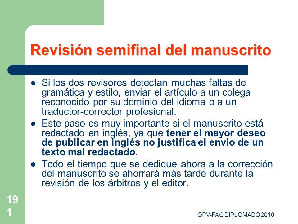 Revisión semifinal del manuscrito