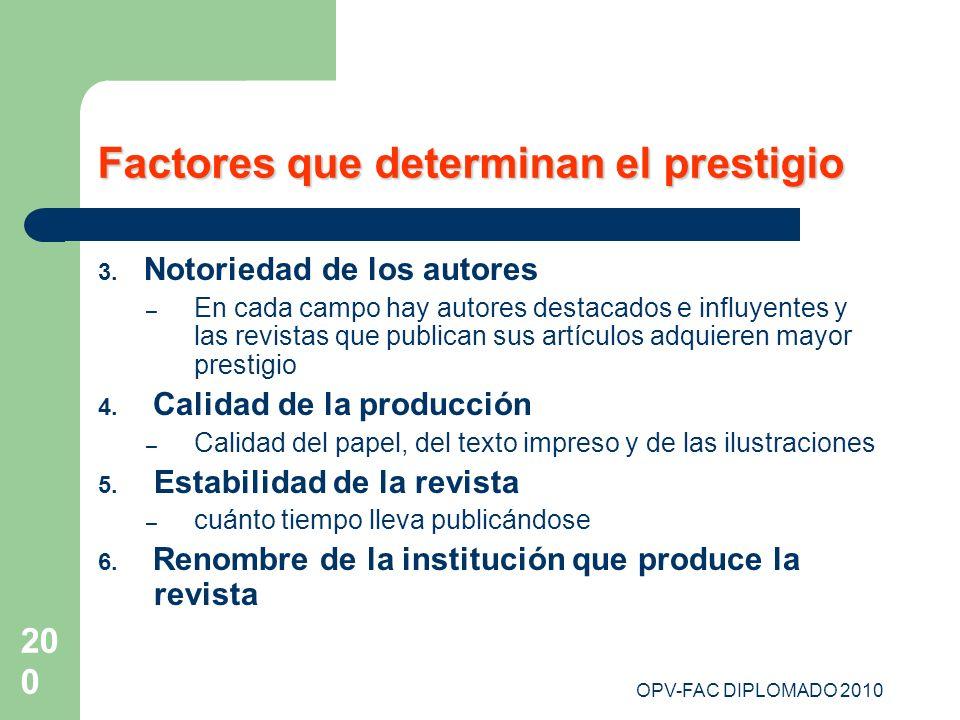 Factores que determinan el prestigio