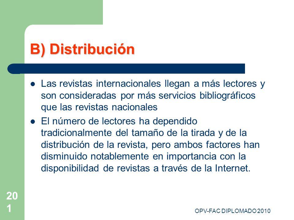 B) DistribuciónLas revistas internacionales llegan a más lectores y son consideradas por más servicios bibliográficos que las revistas nacionales.