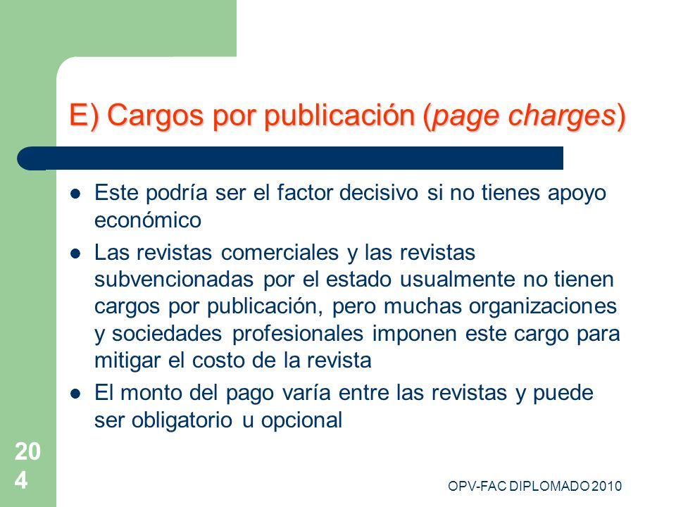 E) Cargos por publicación (page charges)